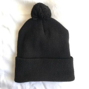American Apparel Black beanie with poof
